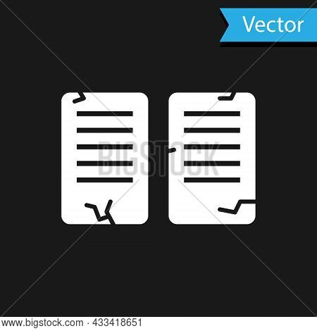 White The Commandments Icon Isolated On Black Background. Gods Law Concept. Vector Illustration