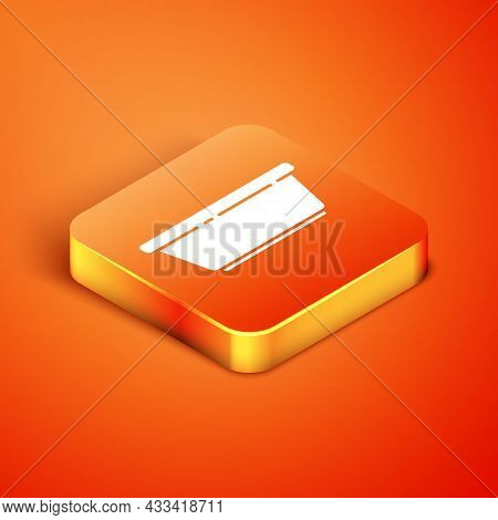 Isometric Plastic Basin Icon Isolated On Orange Background. Bowl With Water. Washing Clothes, Cleani