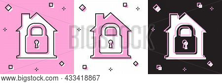 Set House Under Protection Icon Isolated On Pink And White, Black Background. Home And Lock. Protect