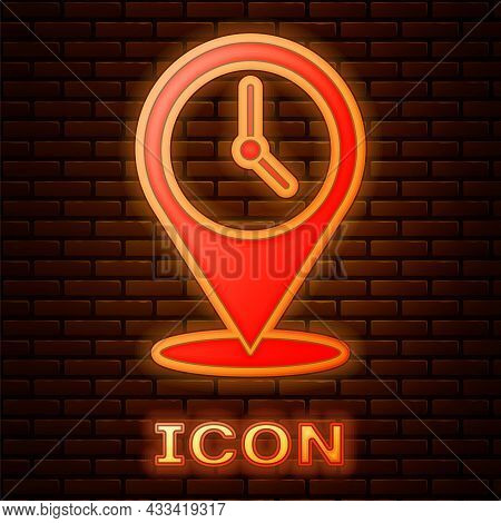 Glowing Neon Location With Clock Icon Isolated On Brick Wall Background. Vector