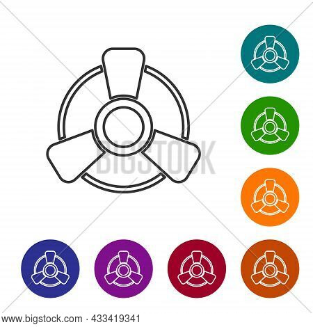 Black Line Car Motor Ventilator Icon Isolated On White Background. Set Icons In Color Circle Buttons
