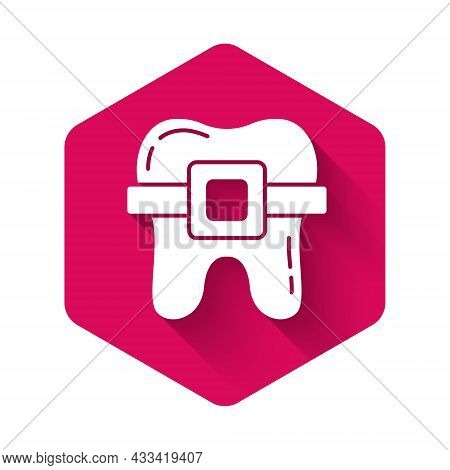 White Teeth With Braces Icon Isolated With Long Shadow. Alignment Of Bite Of Teeth, Dental Row With