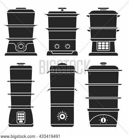 Steam Cooker Isolated Black Set Icon. Vector Illustration Steamer On White Background. Vector Black