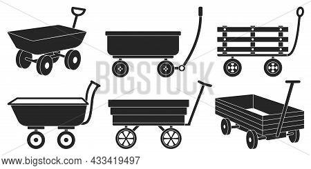 Garden Wagon Black Vector Illustration On White Background. Farm Wheelbarrow Set Icon.vector Illustr