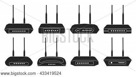 Router Vector Black Set Icon. Vector Illustration Modem On White Background. Isolated Black Set Icon