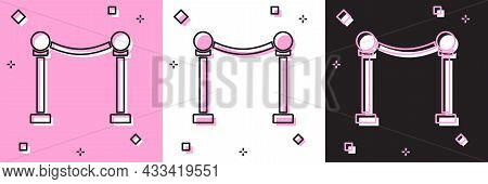 Set Rope Barrier Icon Isolated On Pink And White, Black Background. Vip Event, Luxury Celebration. C