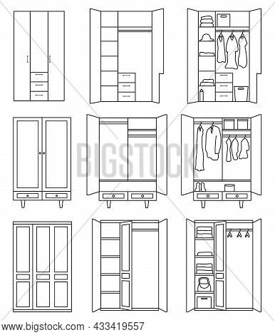 Cupboard Vector Outline Set Icon. Vector Illustration Closet On White Background. Isolated Outline S