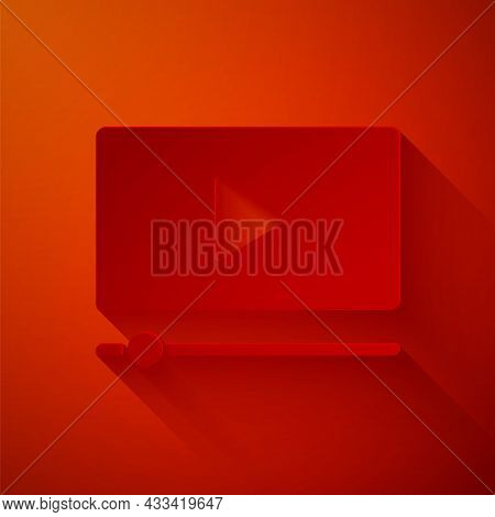 Paper Cut Online Play Video Icon Isolated On Red Background. Film Strip With Play Sign. Paper Art St