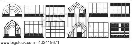 Greenhouse Vector Illustration On White Background. Isolated Black Set Icon Glasshouse. Vector Black