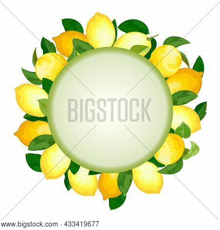 Lemons In Frame Decor.frame With A Decor Of Yellow Lemons On A White Background In Color Vector Illu