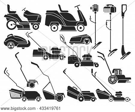 Lawn Mower Vector Illustration On White Background. Isolated Black Set Icon Lawnmower. Vector Black