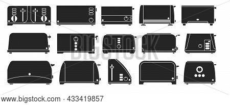 Toaster Vector Illustration On White Background. Isolated Black Set Icon Toast Machine. Vector Black