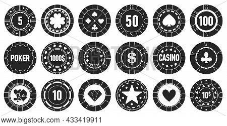 Casino Chips Vector Black Set Icon. Vector Illustration Vegas Game On White Background. Isolated Bla