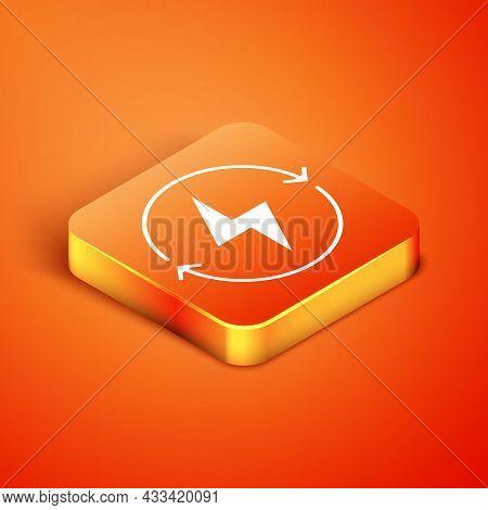 Isometric Lightning Bolt Icon Isolated On Orange Background. Flash Sign. Charge Flash Icon. Thunder