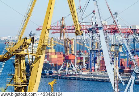 Port Cranes And Sea Containers In The Cargo Seaport.
