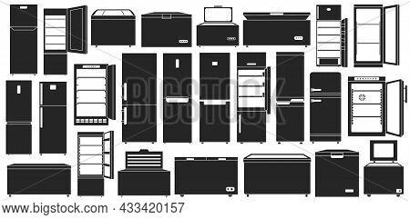 Freezer Vector Black Set Icon. Vector Illustration Fridge On White Background. Isolated Black Set Ic