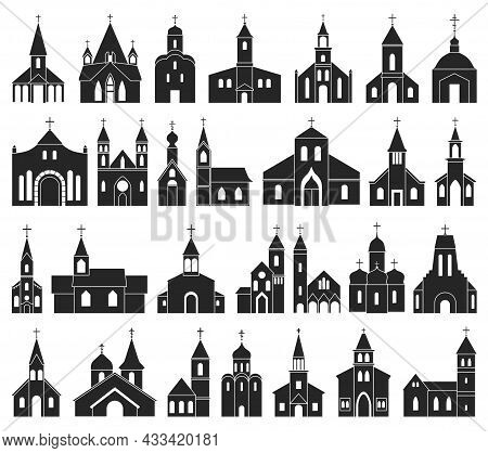 Church Vector Black Set Icon. Vector Illustration Religion Building On White Background. Isolated Bl