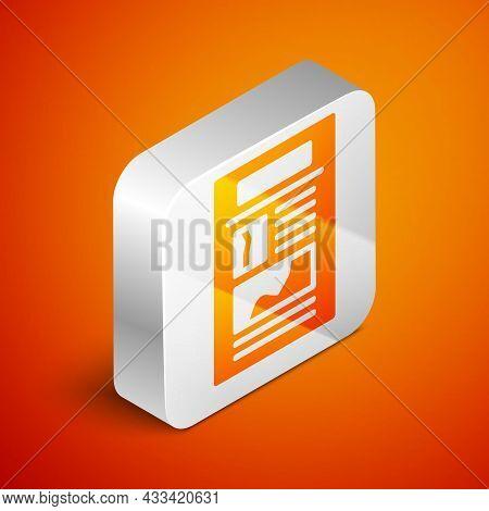 Isometric News Icon Isolated On Orange Background. Newspaper Sign. Mass Media Symbol. Silver Square