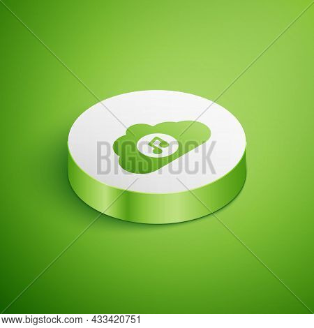 Isometric Music Streaming Service Icon Isolated On Green Background. Sound Cloud Computing, Online M