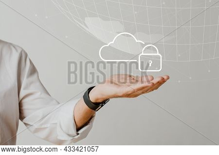 Hand holding cloud system with data protection