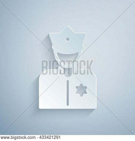 Paper Cut Police Officer Icon Isolated On Grey Background. Paper Art Style. Vector