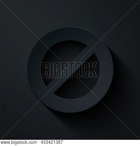 Paper Cut Ban Icon Isolated On Black Background. Stop Symbol. Paper Art Style. Vector