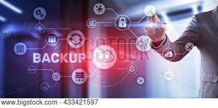 Backup Storage Data Technology Concept. Businessman Touching Backup