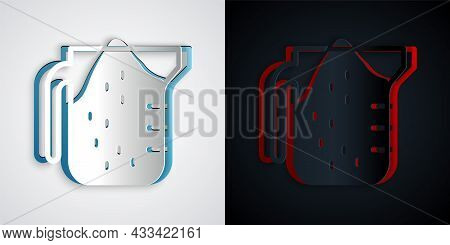 Paper Cut Measuring Cup To Measure Dry And Liquid Food Icon Isolated On Grey And Black Background. P