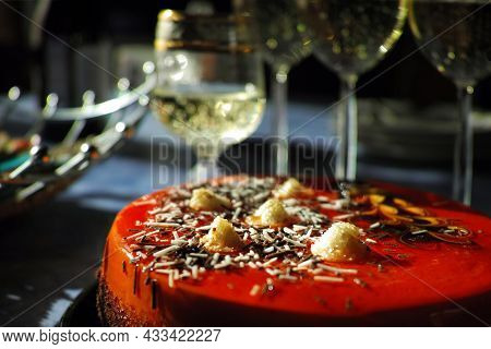 A Tart And Glasses With Sparkling Wine, Shallow Dof Soft Focus Closeup