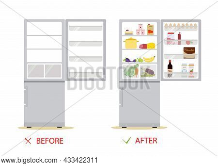 An Empty Refrigerator, A Full Refrigerator Of Food. Before And After. Flat Cartoon Style Vector Illu