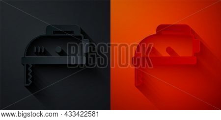 Paper Cut Electric Jigsaw With Steel Sharp Blade Icon Isolated On Black And Red Background. Power To