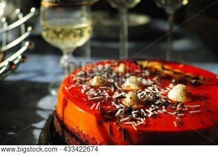 A Red Tart And Sparkling Wine, Shallow Dof Soft Focus Still Life