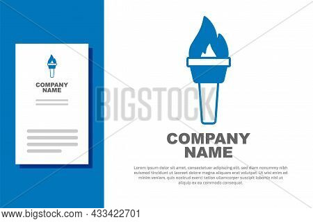 Blue Torch Flame Icon Isolated On White Background. Symbol Fire Hot, Flame Power, Flaming And Heat.