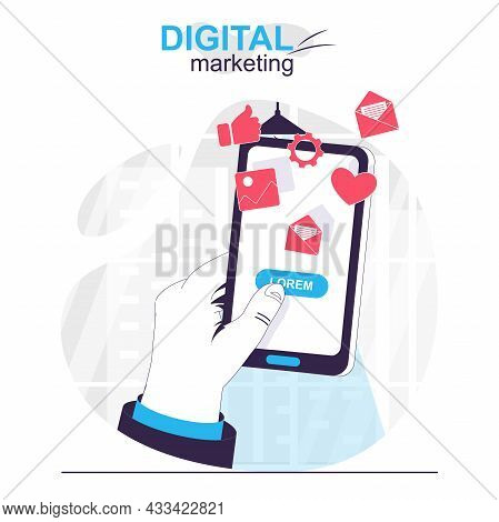 Digital Marketing Isolated Cartoon Concept. User Sees Ads And Commercial Offer In Mobile App, People