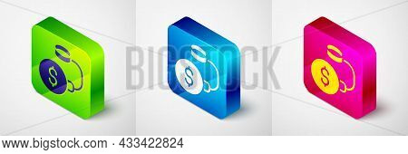 Isometric Debt Ball Chained To Dollar Coin Icon Isolated On Grey Background. Big Heavy Debt Weight W