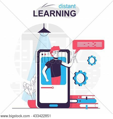 Distant Learning Isolated Cartoon Concept. Online Education In Mobile App, Studying At Home People S