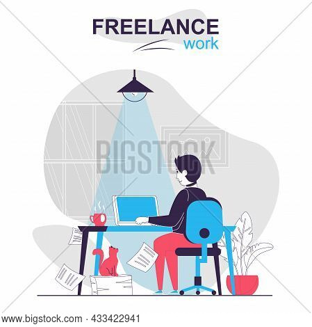 Freelance Work Isolated Cartoon Concept. Man Freelancer Working On Laptop At Home Online People Scen