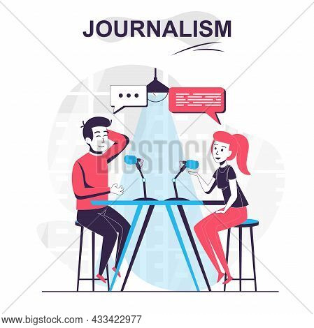 Journalism Isolated Cartoon Concept. Journalist Talks To Guest Of Tv Show And Interviews, People Sce