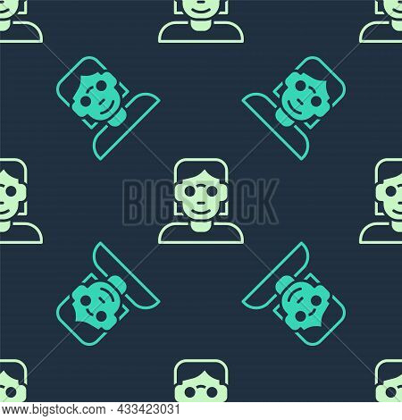 Green And Beige Hacker Or Coder Icon Isolated Seamless Pattern On Blue Background. Programmer Develo