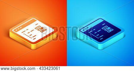 Isometric Software, Web Developer Programming Code Icon Isolated On Orange And Blue Background. Java