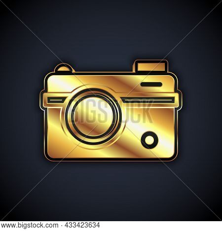 Gold Photo Camera Icon Isolated On Black Background. Foto Camera. Digital Photography. Vector