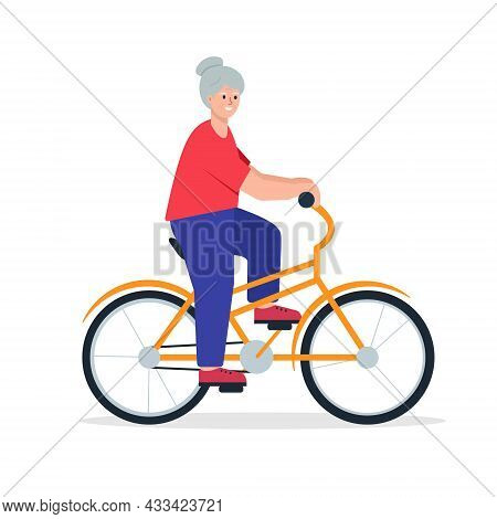 Elderly Woman On Bycicle. Smiling Happy Retired Lady Ride Bike. Senior People Active Lifestyle Conce