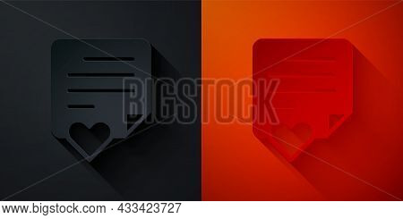 Paper Cut Envelope With Valentine Heart Icon Isolated On Black And Red Background. Message Love. Let