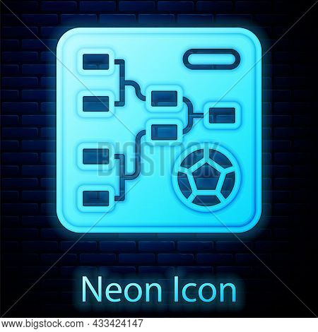 Glowing Neon Results And Standing Tables Scoreboard Championship Tournament Bracket Icon Isolated On