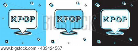 Set K-pop Icon Isolated On Blue And White, Black Background. Korean Popular Music Style. Vector