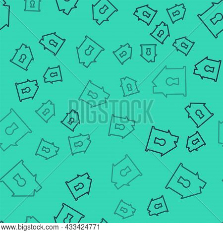 Black Line House Under Protection Icon Isolated Seamless Pattern On Green Background. Home And Shiel
