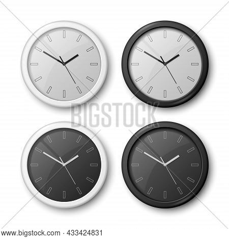 Vector 3d Realistic White, Black Wall Office Clock Icon Set Isolated On White. White Dial, Black Dia