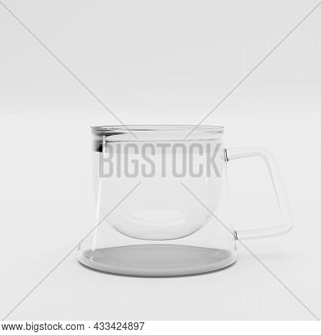 Mug With A Double Bottom On A White Background. Double-bottomed Coffee Cup. Transparent Square-shape