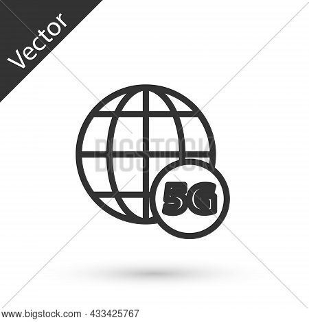 Grey Line 5g New Wireless Internet Wifi Connection Icon Isolated On White Background. Global Network
