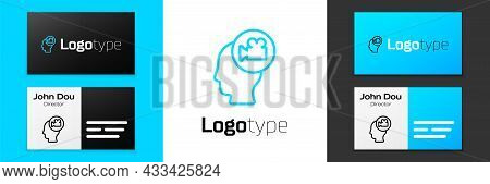 Blue Line Head With Camera Icon Isolated On White Background. Video Camera. Movie Sign. Film Project